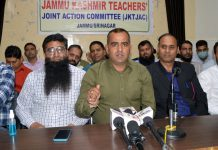 JKTJAC office bearers addressing a press conference at Jammu on Sunday. -Excelsior/Rakesh
