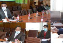 Chief Secretary A K Mehta chairing a meeting.