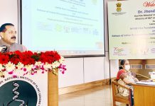 Union Minister Dr Jitendra Singh addressing the faculty and students at the National Institute of Plant Genome Research (NIPGR), Aruna Asaf Ali Marg, New Delhi on Friday.