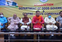 BJP leaders during a meeting at Jammu on Saturday. -Excelsior/ Rakesh
