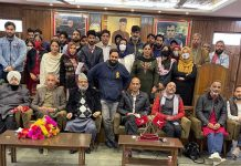NC provincial president, Nasir Aslam Wani along with senior leaders and new entrants during joining function in Srinagar.