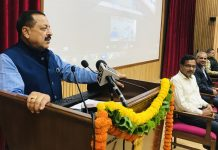 """Union Minister Dr Jitendra Singh addressing interactive session on """"Role of Research Technology & Startup in Blue Economy"""", at the inaugural session of Azadi Ka Amrit Mahotsav, organised by the Ministry of Earth Sciences, at New Delhi on Monday."""