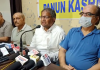 PK leaders at a press conference at Jammu on Sunday. -Excelsior/Rakesh
