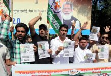 PYC activists staging protest in Jammu on Tuesday. —Excelsior/Rakesh
