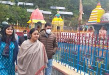 Union Minister of State for Education, Annpurna Devi during visit to Sun temple on Sunday.