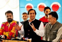Hilal Ahmad Rather, son of veteran National Conference leader and former Jammu and Kashmir Finance Minister Abdul Rahim Rather joining Sajad Lone's Jammu and Kashmir Peoples Conference in Srinagar on Saturday.