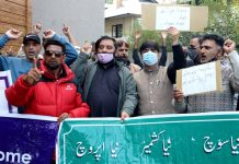 JKNPF leaders and workers staging protest against civilian killings in Srinagar on Tuesday. —Excelsior/Shakeel