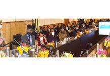 LG Manoj Sinha chairing a meeting at Ganderbal on Sunday.