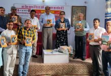 Shree Vishwakarma Library officials launching project to provide free stationery to poor students in Jammu on Sunday.