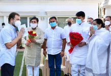 Congress leader Rahul Gandhi holding a meeting with Gujarat PCC leaders in New Delhi. (UNI)