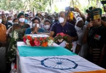 Family members of Sepoy Vaisakh H, who lost his life in Poonch (J&K) during an anti-terrorist operation, pay their last respects on his mortal remains before his last rites.