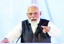 Prime Minister Narendra Modi addressing at a ceremony to dedicate 35 PSA Oxygen Plants to the nation at AIIMS Rishikesh on Thursday. (UNI)