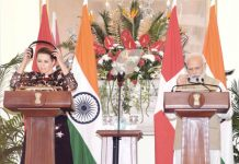Prime Minister Narendra Modi and Denmark Prime Minister Matte Frederiksen at the joint statements at Hyderabad House, in New Delhi on Saturday. (UNI)