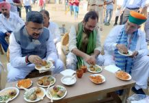 Union Minister for Education, Skill Development and Entrepreneurship, Dharmendra Pradhan, the Union Minister for Minority Affairs, Mukhtar Abbas Naqvi and the Minister of State for Parliamentary Affairs and Culture, Arjun Ram Meghwal at the inauguration of the 29th 'Hunar Haat', at Rampur, Uttar Pradesh on Saturday.