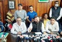 IkkJutt Jammu president Ankur Sharma addressing a press conference on Wednesday.