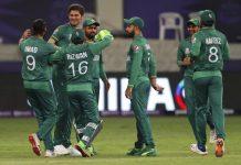 Pakistan players celebrating victory against India at Dubai on Sunday.