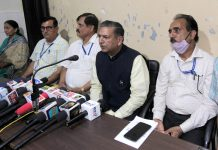 The national office bearers of BVP at a press conference at Jammu on Monday. — Excelsior/Rakesh