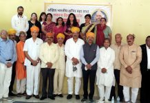Members of Akhil Bharatiya Kshatriya Maha Sabha during a congregation at Jammu on Tuesday.