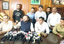 Ikkjutt Jammu president Ankur Sharma addressing a press conference on Monday.